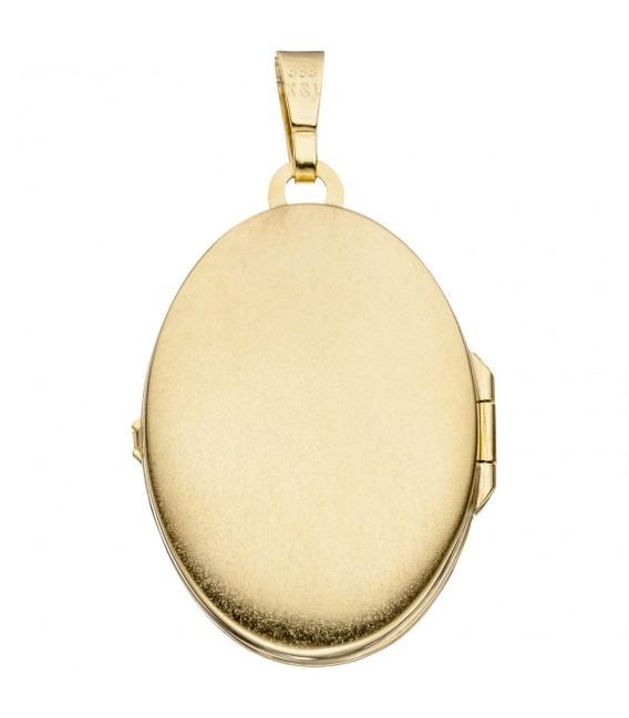 Medaillon oval 333 Gold Gelbgold bicolor eismatt Anhänger zum Öffnen.