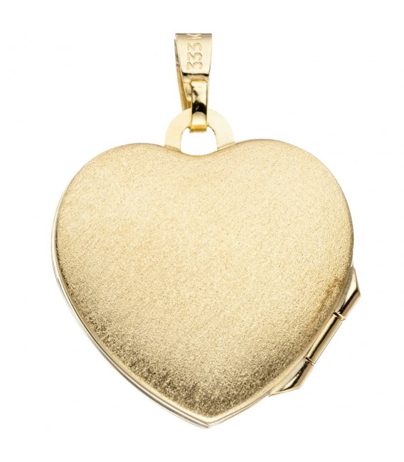 Medaillon Herz 333 Gold Gelbgold eismatt Anhänger zum Öffnen.