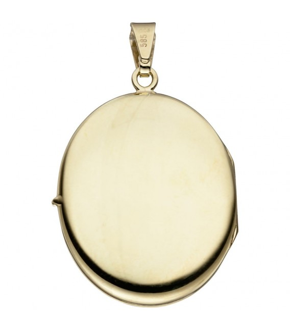 Medaillon oval 585 Gold Gelbgold mattiert 6 Diamanten Anhänger zum Öffnen.