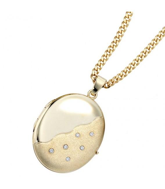 Medaillon oval 585 Gold Gelbgold mattiert 6 Diamanten Anhänger zum Öffnen. Bild 3