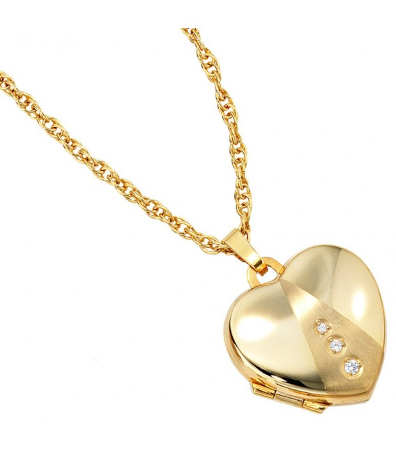 Medaillon Herz 333 Gold Gelbgold mattiert 3 Zirkonia Anhänger zum Öffnen. Bild 3