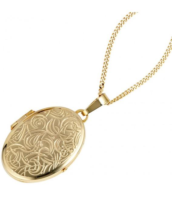 Medaillon oval für 2 Fotos 333 Gold Gelbgold matt Anhänger zum Öffnen. Bild 3