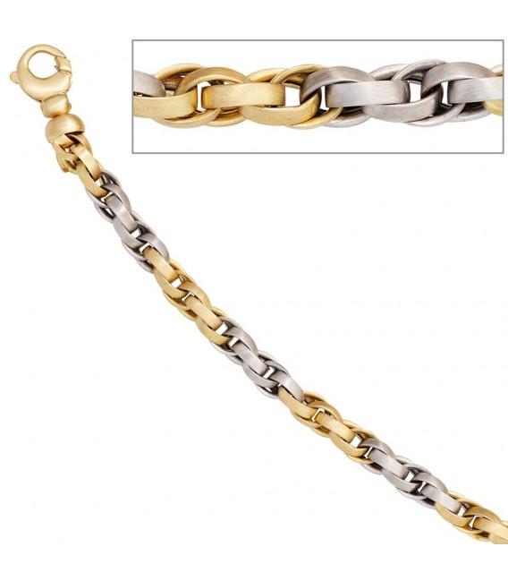Collier Halskette 585 Gold Gelbgold Weißgold bicolor 45 cm Kette Goldkette.