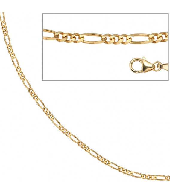 Figarokette 333 Gelbgold 2,8 mm 42 cm Gold Kette Halskette Goldkette Karabiner.