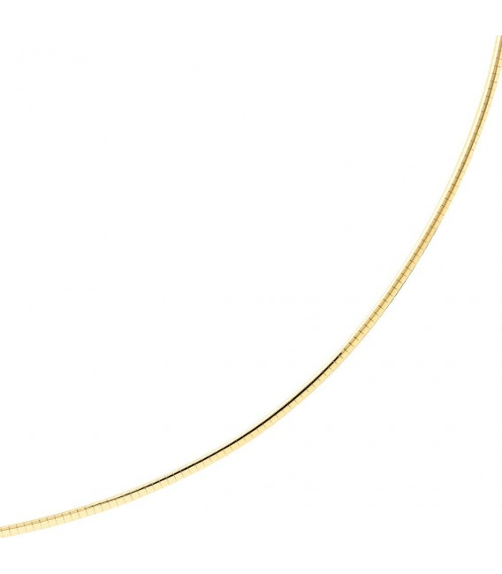 Halsreif 585 Gelbgold Weißgold beidseitig tragbar 45 cm Gold Kette Halskette.
