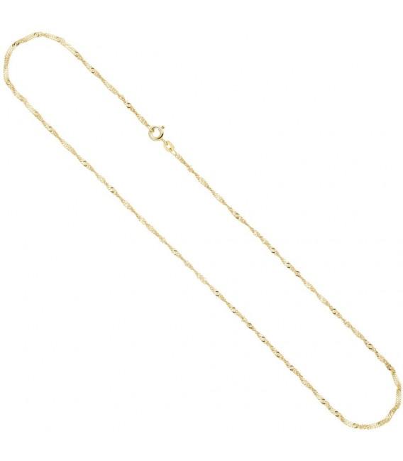 Singapurkette 585 Gelbgold 1,8 mm 45 cm Gold Kette Halskette Goldkette Federring.