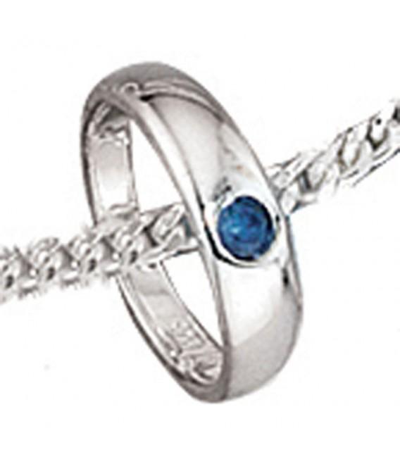 Kinder Taufring 925 Sterling Silber 1 blauer Safir Taufanhänger.