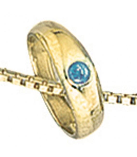 Kinder Taufring 333 Gold Gelbgold 1 blauer Safir Taufanhänger.