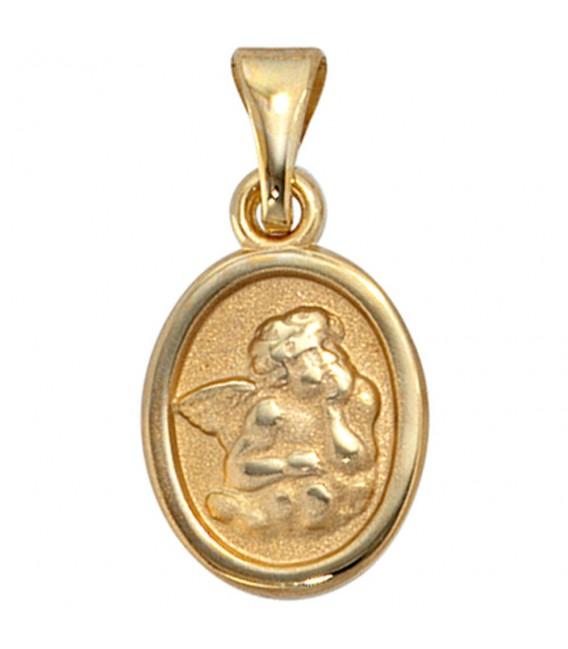 Kinder Anhänger Engel Schutzengel 333 Gold Gelbgold mattiert Kinderanhänger. Bild 3