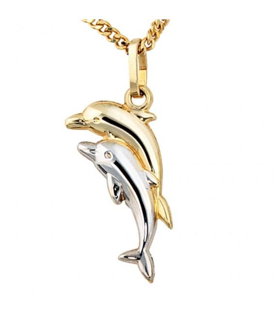 Kinder Anhänger Delfin Delfine 333 Gold bicolor Kinderanhänger Delfinanhänger.