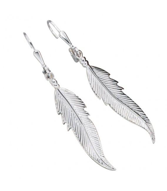 Boutons Feder 925 Sterling Silber Ohrringe Ohrhänger.
