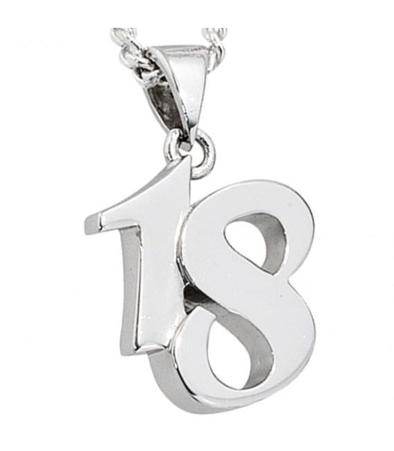 Anhänger 18 Achtzehn 925 Sterling Silber massiv rhodiniert.