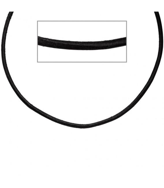 Leder Halskette Kette Schnur schwarz 45 cm, Karabiner 925 Sterling Silber. Zoom