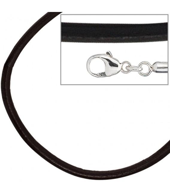 Leder Halskette Kette Schnur schwarz 50 cm, Karabiner 925 Sterling Silber.