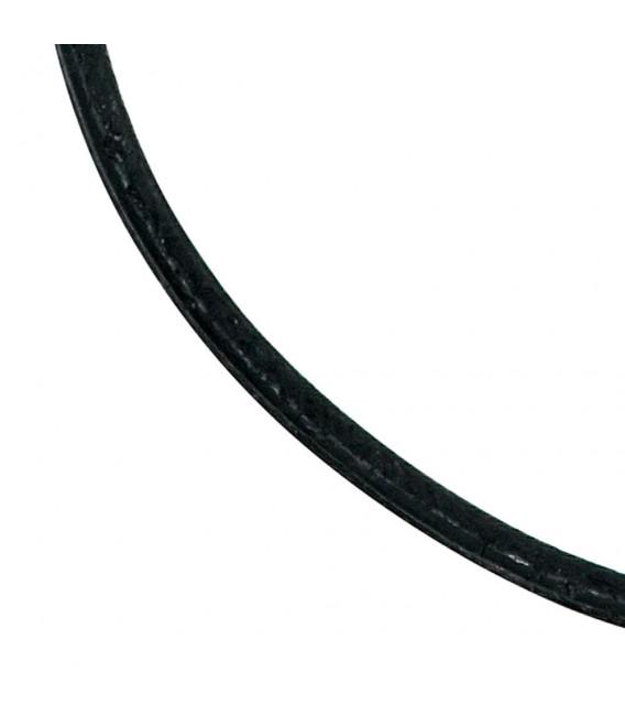 Leder Halskette Kette Schnur schwarz 70 cm, Karabiner 925 Sterling Silber.