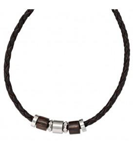 Collier Halskette Leder schwarz - 4053258086926