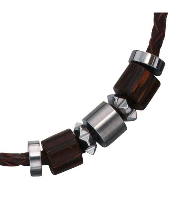 Collier Halskette Leder schwarz mit Edelstahl und Holz 45 cm Kette Lederkette.