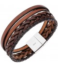 Herren Armband 4-reihig Leder - 48833