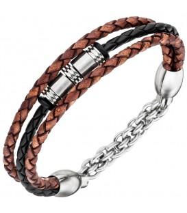 Herren Armband 3-reihig Leder - 4053258334195