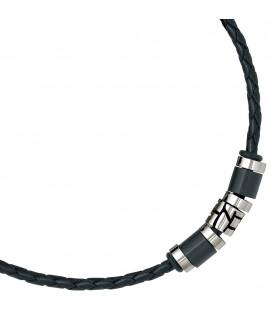 Collier Halskette Leder schwarz - 4053258086681