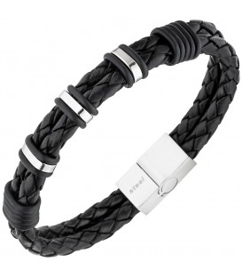 Herren Armband 2-reihig Leder - 4053258334249