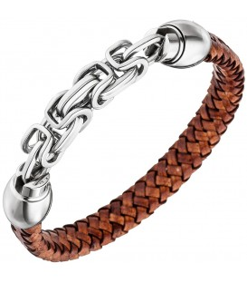 Herren Armband Leder braun - 4053258334256