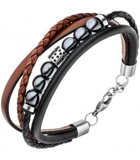 Herren Armband 4-reihig Leder - 4053258334188