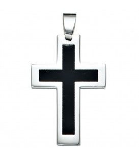 Anhänger Kreuz Edelstahl schwarze - 4053258087756