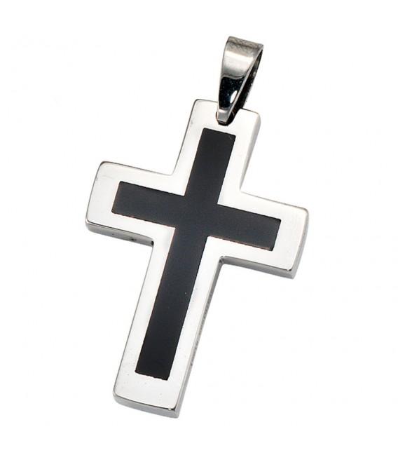 Anhänger Kreuz Edelstahl schwarze Lackeinlage Kreuzanhänger Edelstahlkreuz.