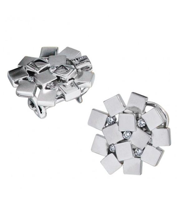 Ohrstecker 925 Sterling Silber rhodiniert mattiert 10 Zirkonia Ohrringe.