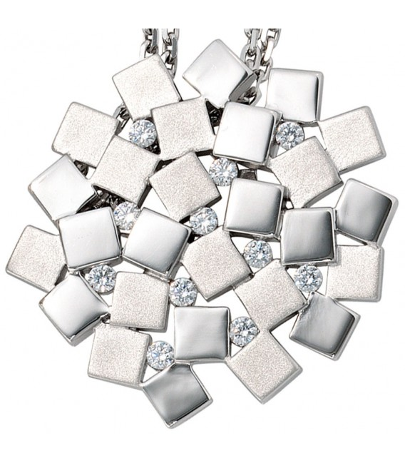 Anhänger 925 Sterling Silber rhodiniert mattiert 11 Zirkonia.