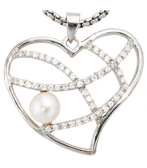 Anhänger Herz 925 Sterling Silber 1 Süßwasser Perle mit Zirkonia Perlenanhänger.