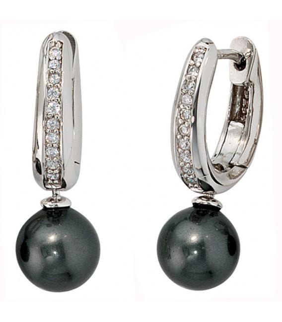 Creolen 925 Silber 2 synthetische Perlen 20 Zirkonia Ohrringe Perlenohrringe.