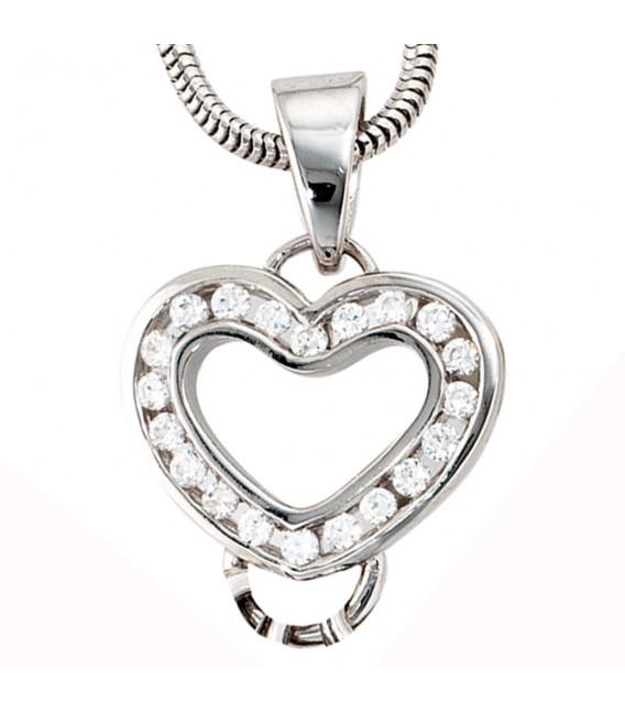 Anhänger Herz Carrier Träger für Charms 925 Sterling Silber 20 Zirkonia.