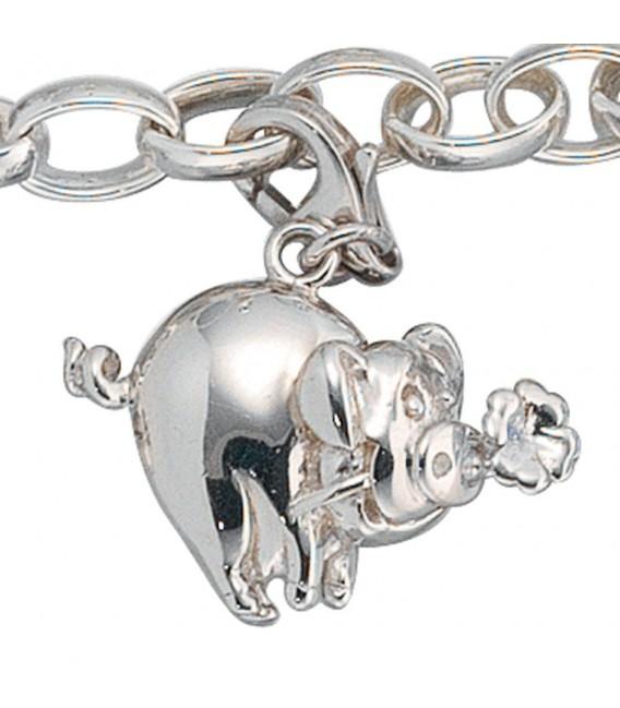 Einhänger Charm Glücksschwein 925 Sterling Silber Glücksbringer.