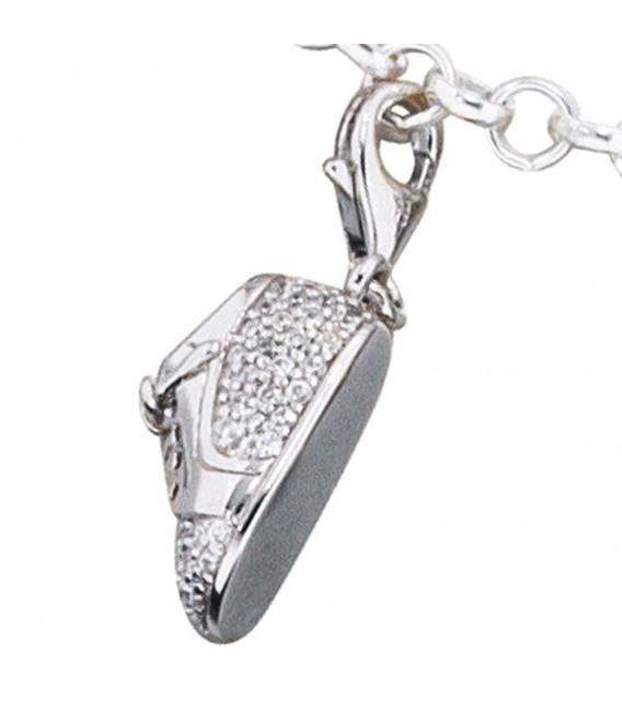 Einhänger Charm Babyschuh 925 Sterling Silber rhodiniert mit Zirkonia.