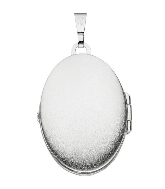 Medaillon oval 925 Sterling Silber eismatt Anhänger zum Öffnen.