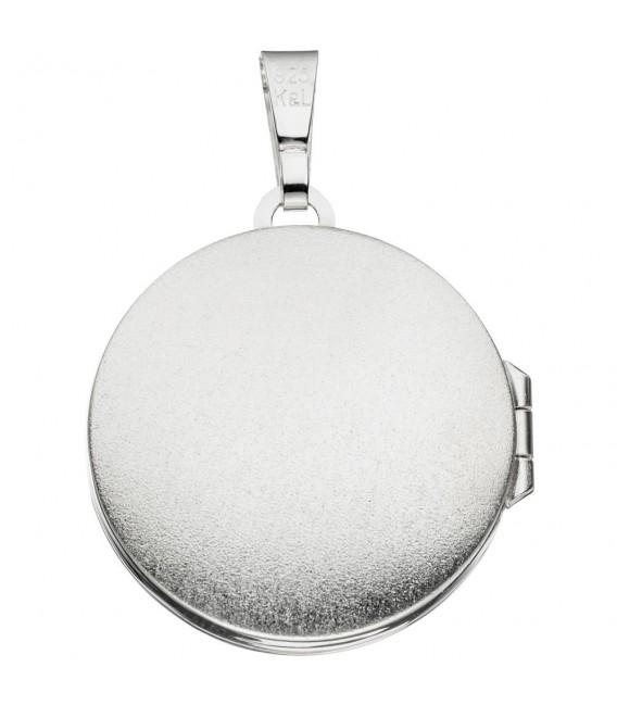 Medaillon rund 925 Sterling Silber 1 Onyx schwarz Anhänger zum Öffnen.