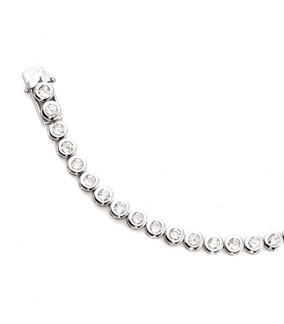 Armband 925 Sterling Silber 28 Zirkonia 19 cm Silberarmband Kastenschloss.