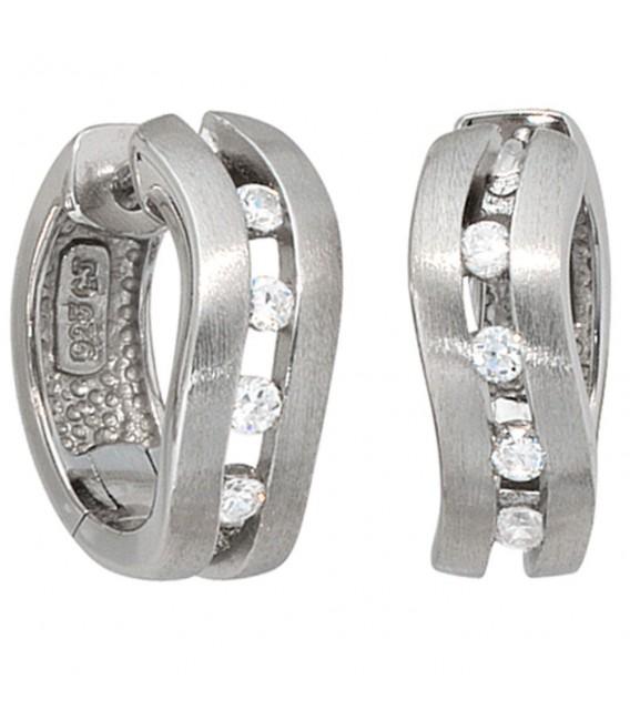 Creolen 925 Silber mattiert 8 Zirkonia Ohrringe Silberohrringe Silbercreolen. Zoom