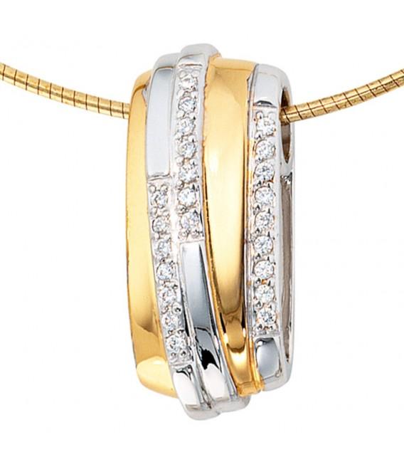 Anhänger 925 Sterling Silber rhodiniert bicolor vergoldet mit Zirkonia.