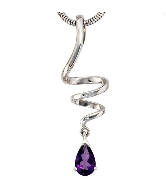 Anhänger Tropfen 925 Sterling Silber rhodiniert 1 Amethyst lila violett.