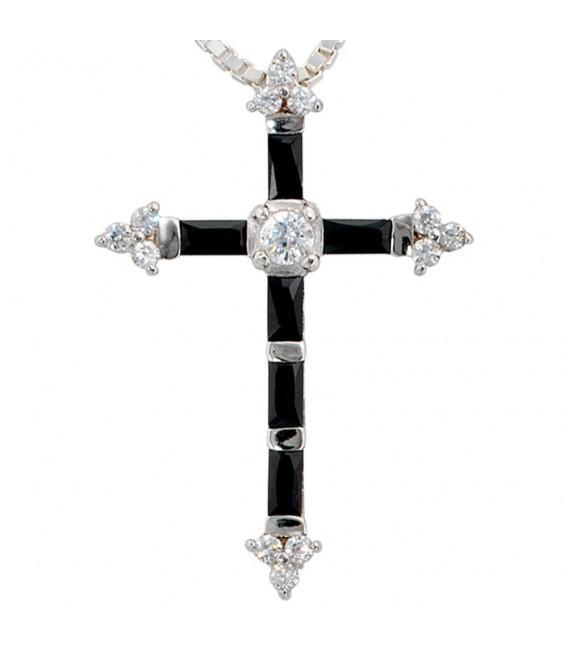 Anhänger Kreuz 925 Sterling Silber mit Zirkonia Kreuzanhänger Silberkreuz. Zoom