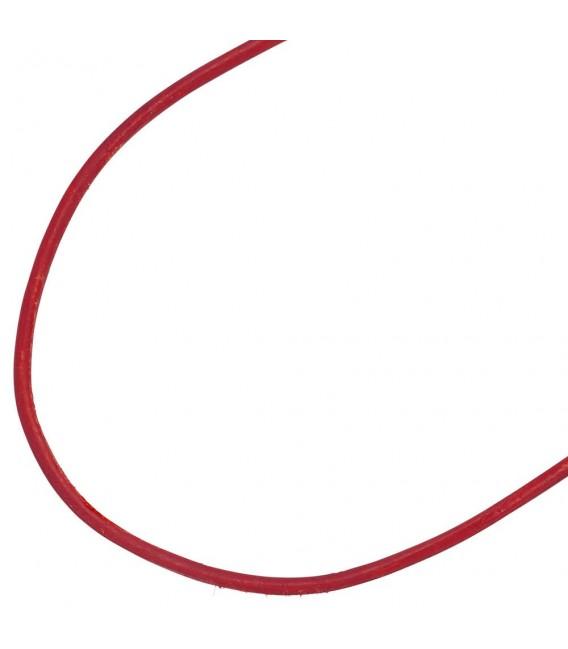 Collier Halskette Leder rot 925 Silber 42 cm Lederkette Karabiner.