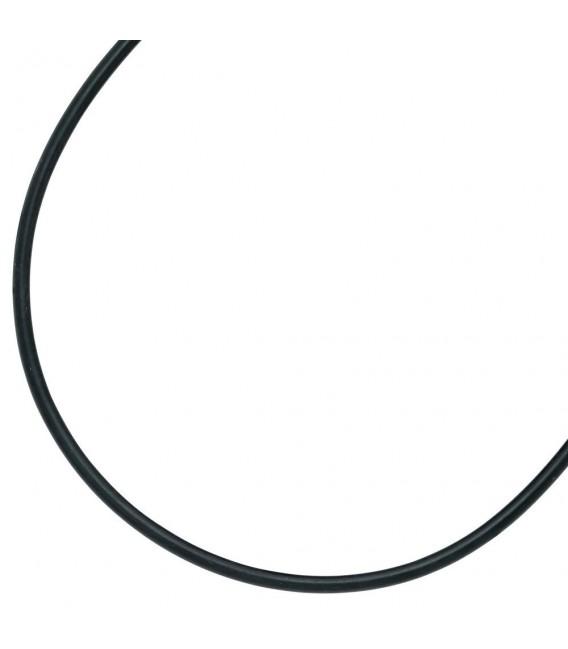 Halskette Kautschuk schwarz mit 925 Silber 3 mm 45 cm Kautschukkette.