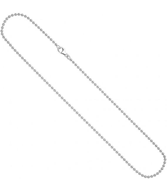 Kugelkette 925 Silber 1,4 mm 42 cm Halskette Kette Silberkette Karabiner Zoom