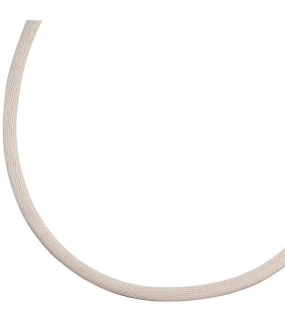 Collier Halskette Seide beige 2,8 mm 42 cm, Verschluss 925 Silber Kette.