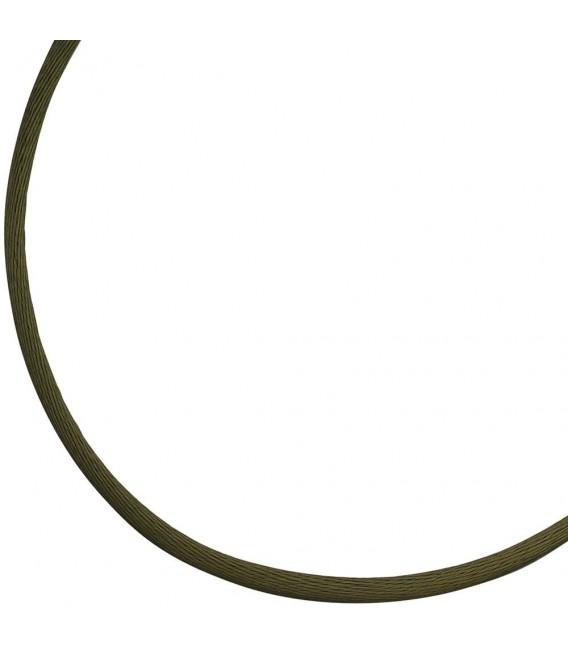 Collier Halskette Seide oliv grün 2,8 mm 42 cm, Verschluss 925 Silber Kette. Zoom