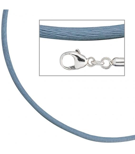 Collier Halskette Seide hellblau - 4053258104347 Zoom