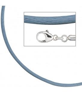 Collier Halskette Seide hellblau - 4053258104347